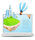 Laptop with Flying Island and Hot Air Balloon isolated on white