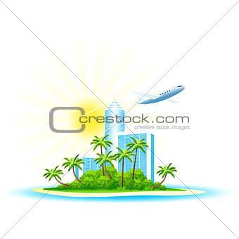 Green Palm Island with Modern Hotel and Airbus isolated on white
