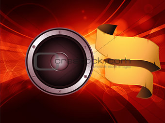 Abstract glowing background with speaker and banner