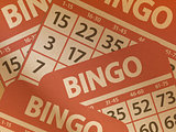 Bingo cards on brown paper