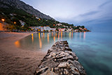 Beautiful Adriatic Beach and Mimice Village on Omis Riviera in t