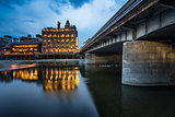 Kamo River and Shijo Dori Bridge in the Evening, Kyoto, Japan