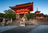 Gates of Kiyomizu-dera Temple Illumineted at Sunset, Kyoto, Japa