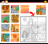 cartoon safari animals jigsaw game