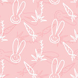 Vector seamless print pattern of rabbits, carrots and shrubs