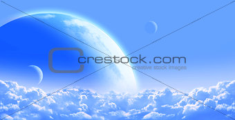 Sky with cloud and planets
