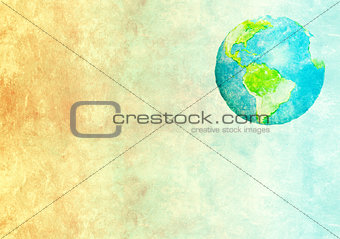Abstract world map printed on paper texture