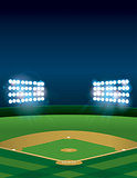 Baseball or Softball Field at Night