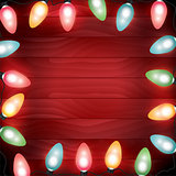Colorful Christmas Lights on Red Wooden Background Illustration