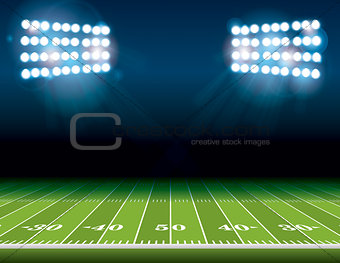 American Football Field with Stadium Lights