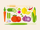 Vegetables in Flat Style