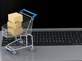 3d Laptop with Shopping cart and cardboard boxes