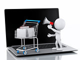 3d white people and Shopping cart on Laptop.