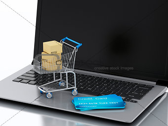 3d Laptop with Shopping cart and credit cards
