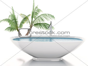 3d bathtub with palm tree. Summer concept