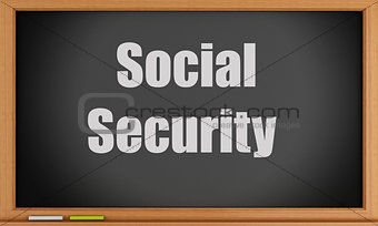 3d Social Security text on blackboard.