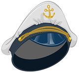 White captain cap with anchor