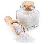 Persian blue salt in a glass bottle