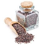 Indian Black salt, Kala namak, in a glass bottle