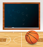 Basketball Chalkboard on Court Illustration