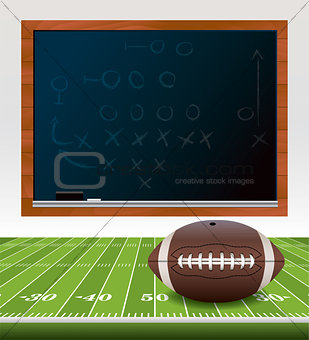 American Football on Field with Chalkboard