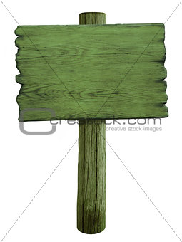 green blank wood road sign isolated on white