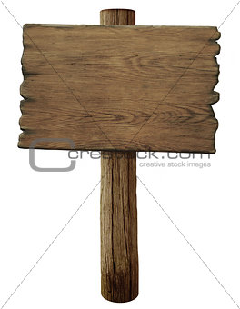 blank old wood road sign isolated