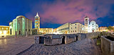 Zadar Forum square evening panorama
