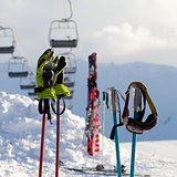 Protective sports equipments on ski poles at ski resort