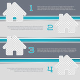 Infographic design with house shaped photo containers