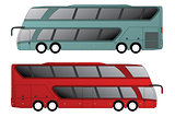Double decker bus with double axle in front and rear