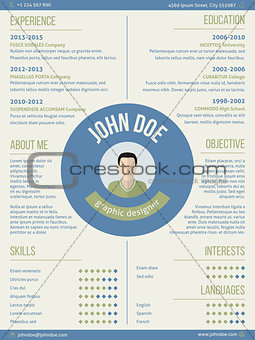 Modern resume curriculum vitae with photo and name in center