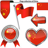 Glossy icons with flag of China