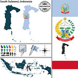 Map of South Sulawesi, Indonesia