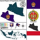 Map of Yogyakarta, Indonesia