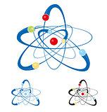 atom symbol set isolated on white background