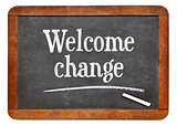 Welcome change phrase on blackboard
