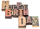 Happy Birthday sign in wood type