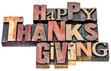 Happy Thanksgiving sign in wood type
