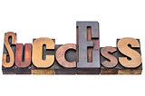 success word abstract in wood type