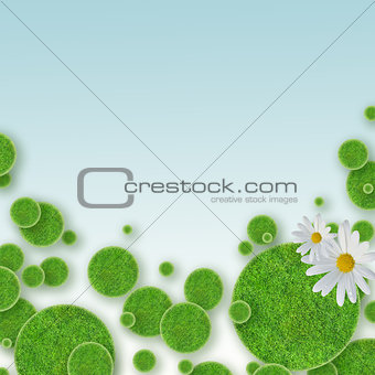 green grass circles background