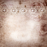 Vintage background with frames, roses, lace, text I Love you, ha