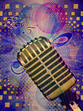 Funky music background with microphone