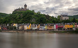 Colorful houses in front of Cochem castle, Moselle, Germany