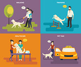 Family with pet concept flat icons set