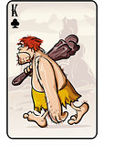 King of clubs playing card from the primitive man