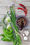 Fresh herbs and spices on garden table