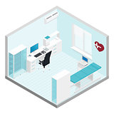 Cabinet cardiologist isometric room set
