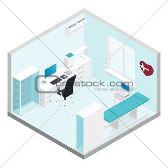 Cabinet cardiologist isometric room set