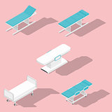 Medical couches, operating and massage tables isometric detailed set